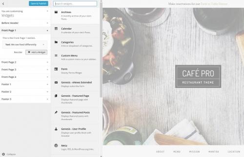 WordPress Theme Customizer Widget List