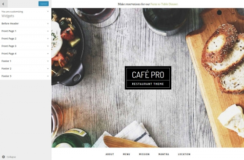WordPress Theme Customizer Widgets