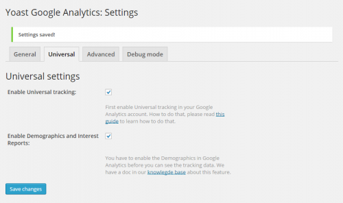 Google Analytics by Yoast Enable Universal Tracking