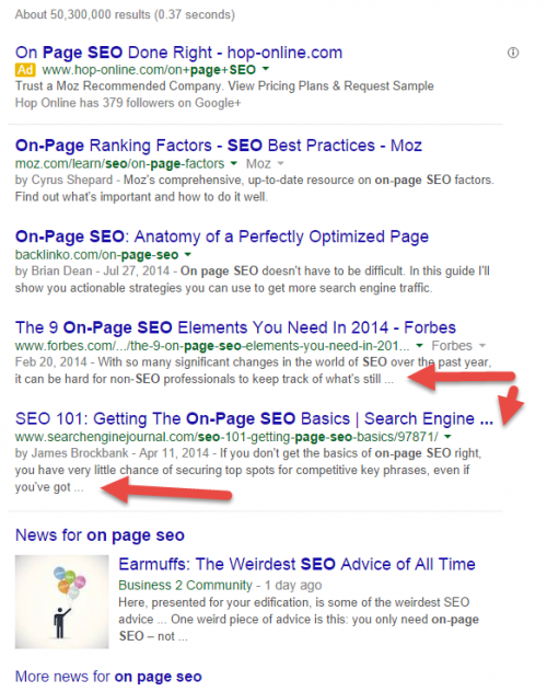 Google SERP for on page seo query done on 08/16/14
