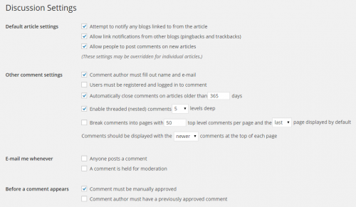 WordPress 4.0 Discussion Settings