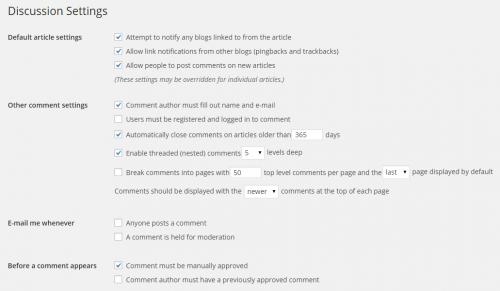 WordPress 4.0 Discussion Settings