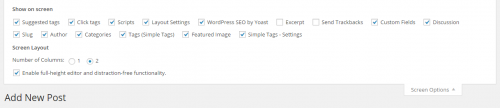 WordPress 4.1 Post Editor Screen Options