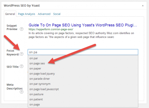 WordPress SEO Focus Keyword with auto-suggest