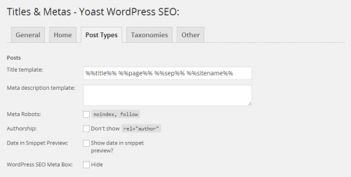 WordPress SEO Post Title Template