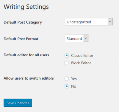wpPERFORM WordPress Classic Editor Site Settings Writing