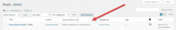 Use Admin Columns plugin to show the guest-author-url