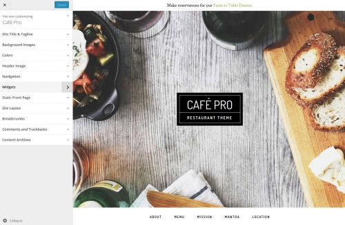 WordPress Theme Customizer in Café Pro Theme