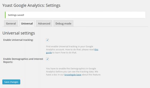Google Analytics by Yoast Enable Universal Tracking