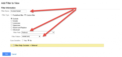 Google Analytics View Filter To Exclude Semalt Referral Traffic