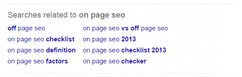 Google SERP showing related searches for on page seo query