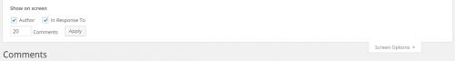 WordPress 4.0 Comment List Screen Options