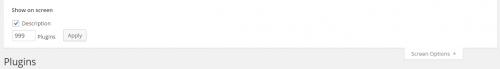 WordPress 4.0 Plugins List Screen Options