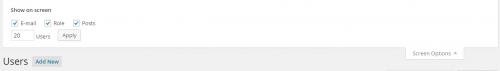 WordPress 4.0 User List Screen Options