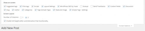 WordPress 4.1 Post Editor Screen Options