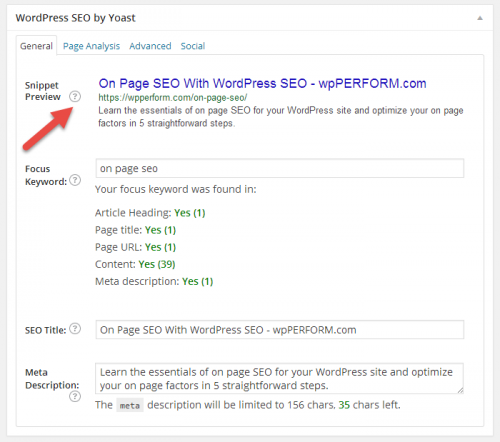 WordPress SEO metabox for On Page SEO post