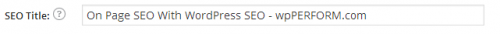 WordPress SEO showing SEO Title revised