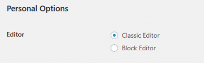 wpPERFORM WordPress Classic Editor User Personal Options